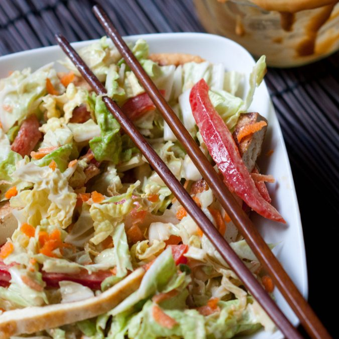 Asian Cabbage and Tofu Salad with Peanut Dressing