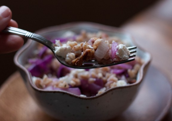 Warm Grain Salad with Cabbage and Ricotta