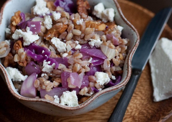 warm grains with cabbage and ricotta