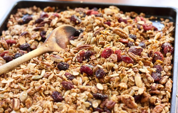 Olive Oil Granola with Pecans and Cherries | A Sweet Spoonful