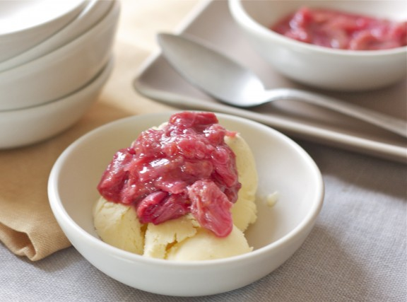 vanilla bean ice cream with rhubarb compote