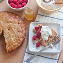 cornmeal cake with raspberries