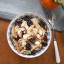 warm farro cereal with coconut, almonds, and dried cherries