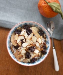 warm farro cereal with coconut, cherries, and almonds