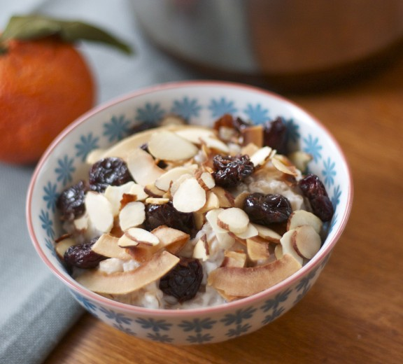 Warm Farro Cereal with Coconut, Almonds and Dried Cherries | A Sweet Spoonful