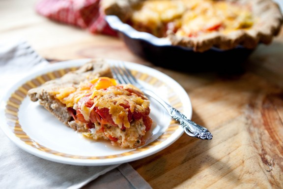 Whole Grain Tomato Cheddar Pie   A Sweet Spoonful