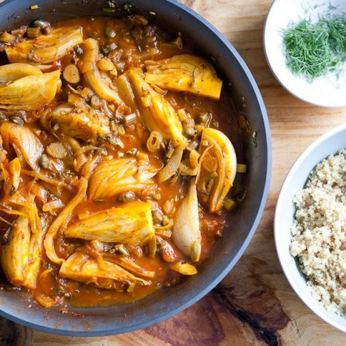 Braised Fennel Wedges with Saffron and Tomato