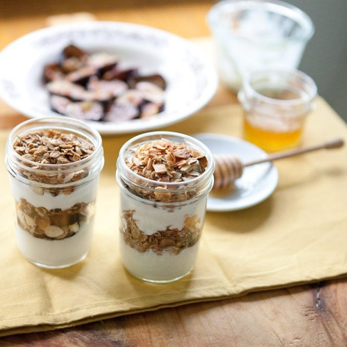 Honey-Roasted Fig, Almond and Toasted Coconut Parfaits
