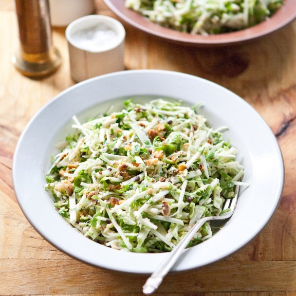 Creamy Apple and Brussels Sprout Salad with Walnuts and Currants | A Sweet Spoonful