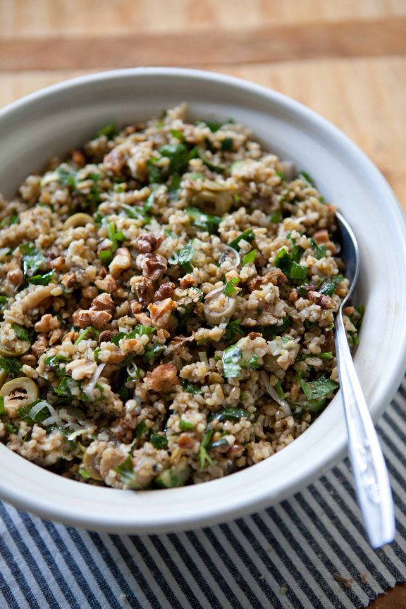 Freekeh Salad with Zucchini, Green Olives and Walnuts | A Sweet Spoonful