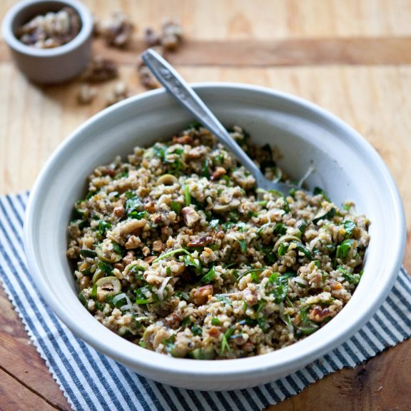 Freekeh Salad with Zucchini, Green Olives and Walnuts