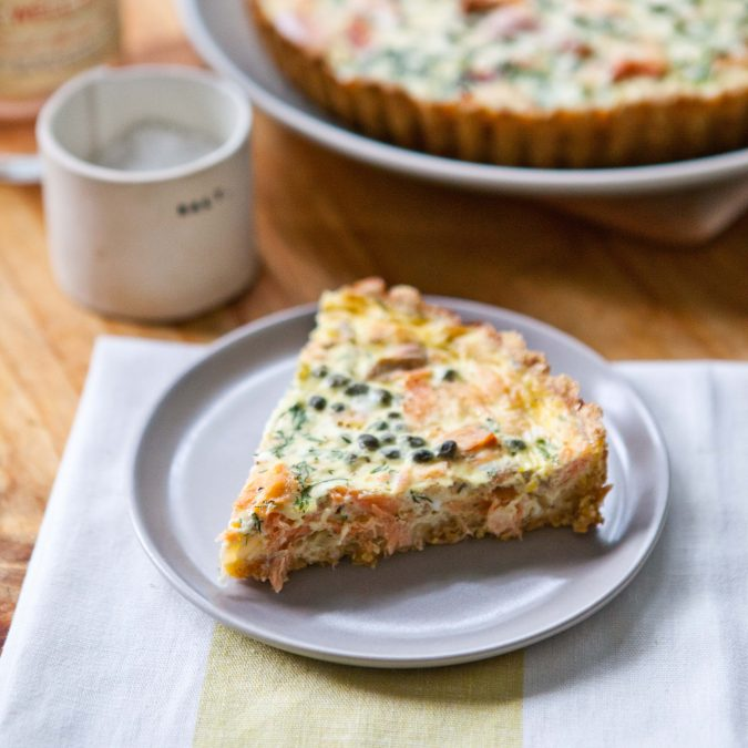 Smoked Salmon Crème Fraîche Tart with a Cornmeal Millet Crust