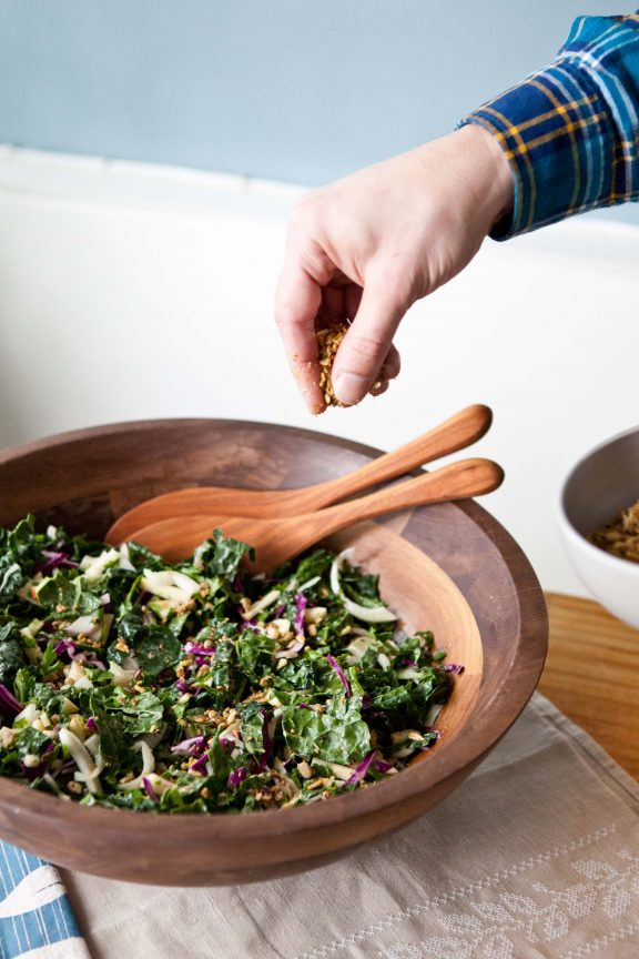 Kale Power Salad with Sunflower Crumble | A Sweet Spoonful