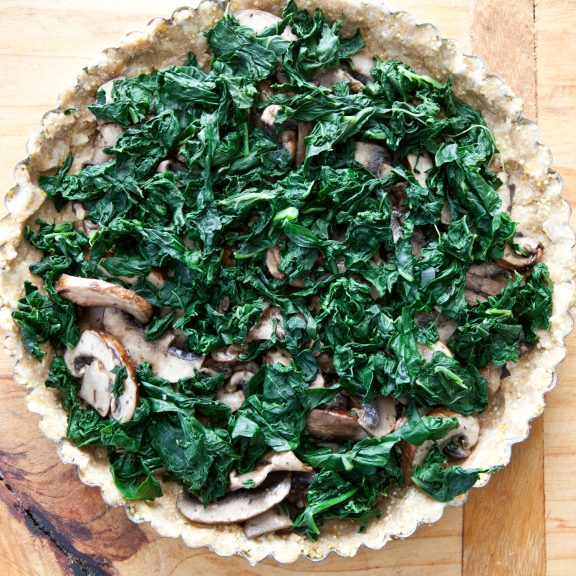 Mushroom, Kale and Cheddar Tart | A Sweet Spoonful