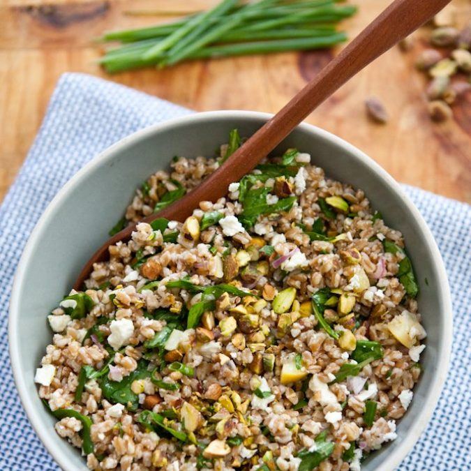 Farro Salad with Arugula, Lemon, Feta and Pistachio