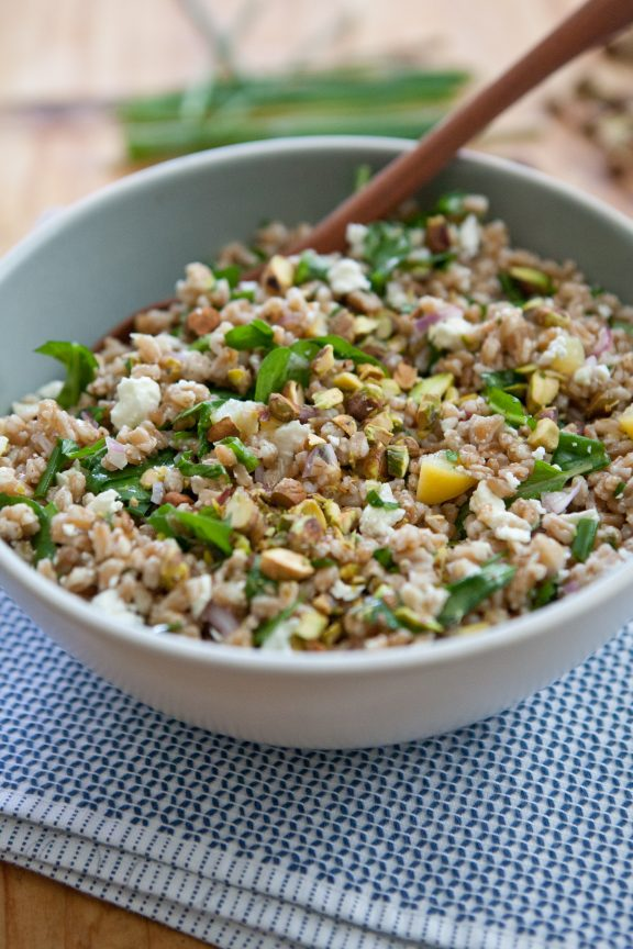 Farro Salad with Arugula, Lemon, Feta and Pistachio | A Sweet Spoonful