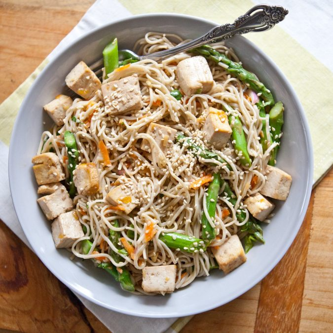 Citrusy Noodles with Tofu, Asparagus and Sesame