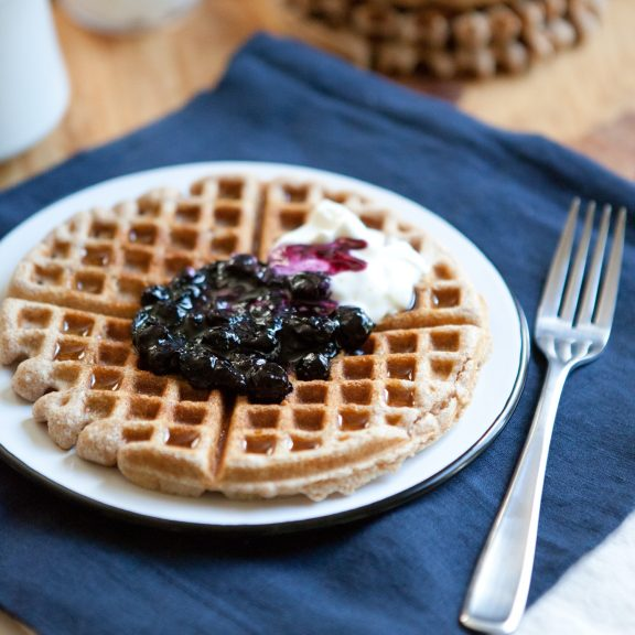 Everyday Whole Wheat Waffles with Blueberry Sauce   A Sweet Spoonful