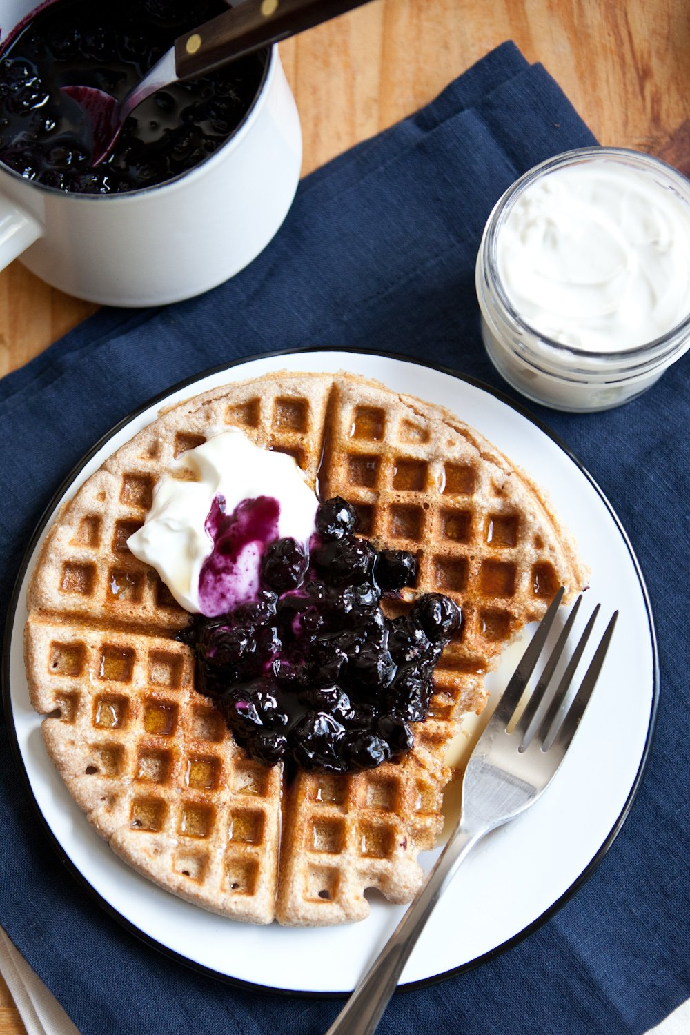 Everyday Whole Wheat Waffles With Blueberry Sauce