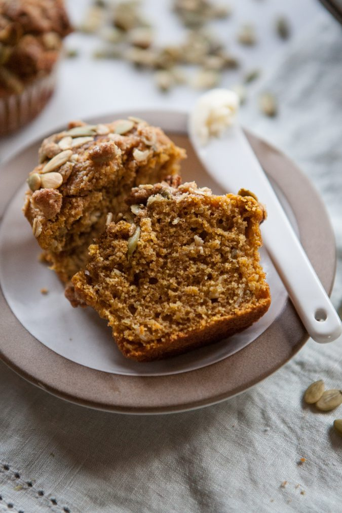 Pumpkin Muffins with Pepita Streusel | A Sweet Spoonful