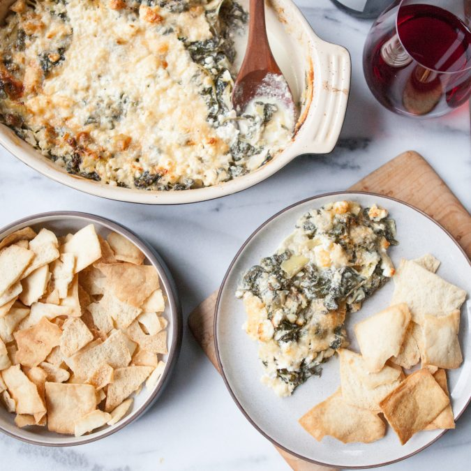Fresh Spinach, Artichoke and Feta Dip | A Sweet Spoonful