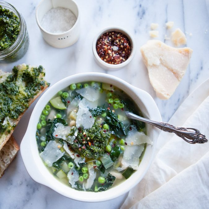 Minestrone Verde with White Beans and Pesto