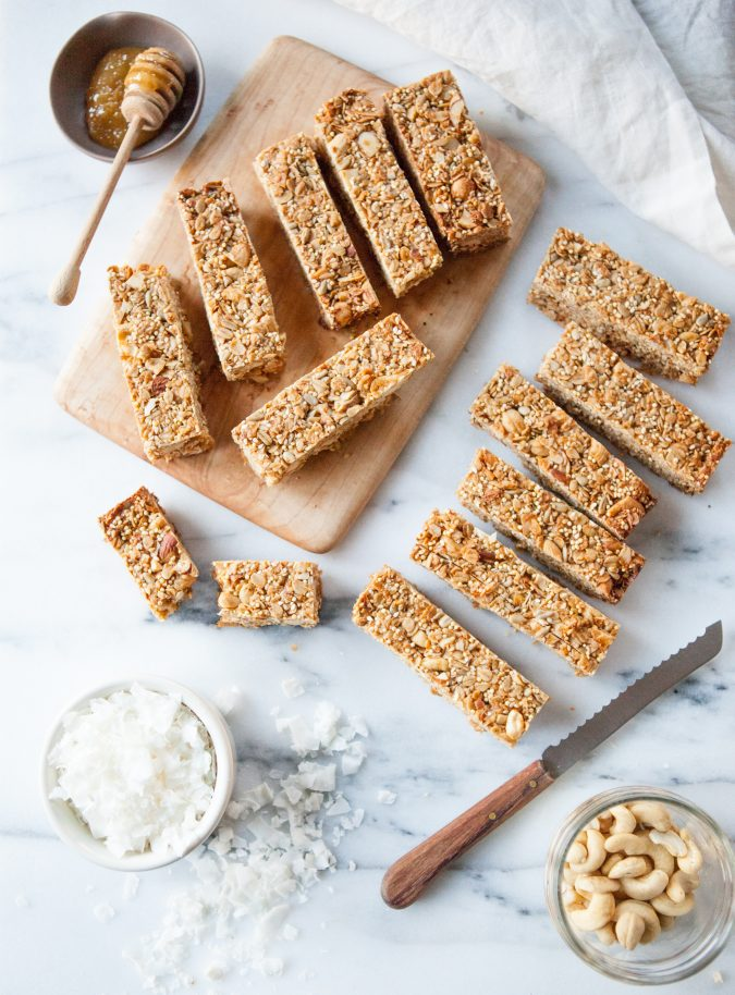 Soft and Chewy Coconut Cashew Granola Bars | A Sweet Spoonful