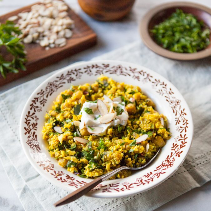 Curried Cauliflower Couscous with Chickpeas and Chard | A Sweet Spoonful