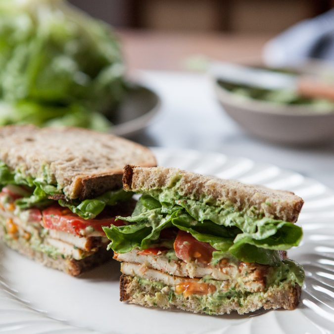 Vegetarian BLT with Creamy Avocado Basil Spread | A Sweet Spoonful