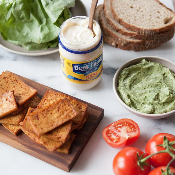 Vegetarian BLT with Creamy Avocado Basil Spread   A Sweet Spoonful