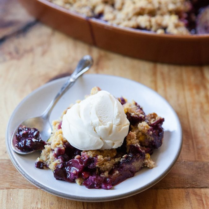 Peach-Berry Corn Crisp
