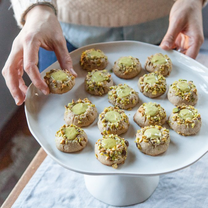 Pistachio Thumbprint Cookies | A Sweet Spoonful