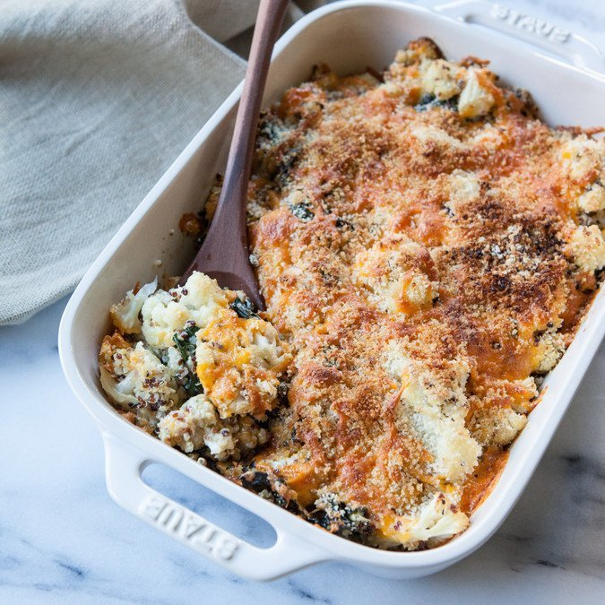 Cheesy Quinoa Cauliflower Bake | A Sweet Spoonful
