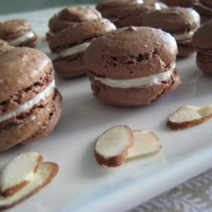 French Chocolate Macarons with Almond Buttercream