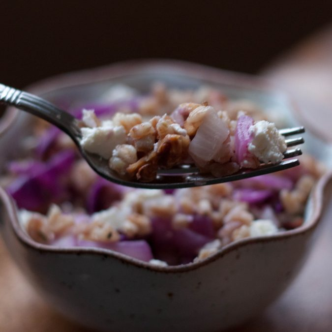Warm Grains with Cabbage and Ricotta Salata