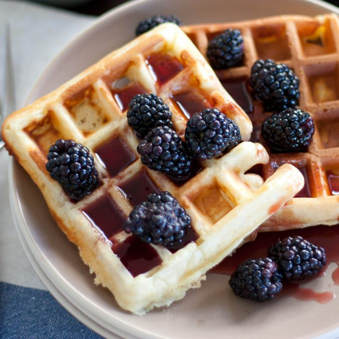 Yeasted Waffles with Pomegranate Syrup