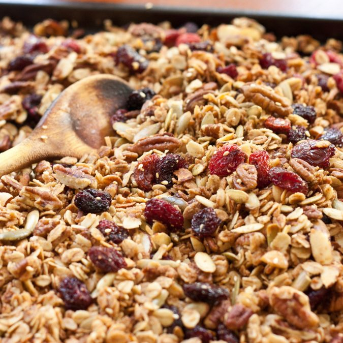 Olive Oil Granola with Pecans and Cherries
