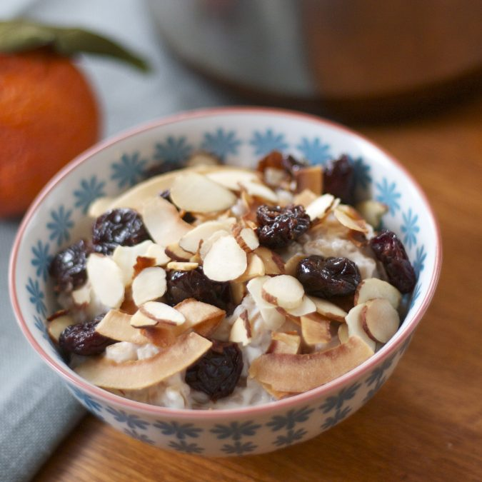 Warm Farro Salad with Coconut, Almonds and Cherries
