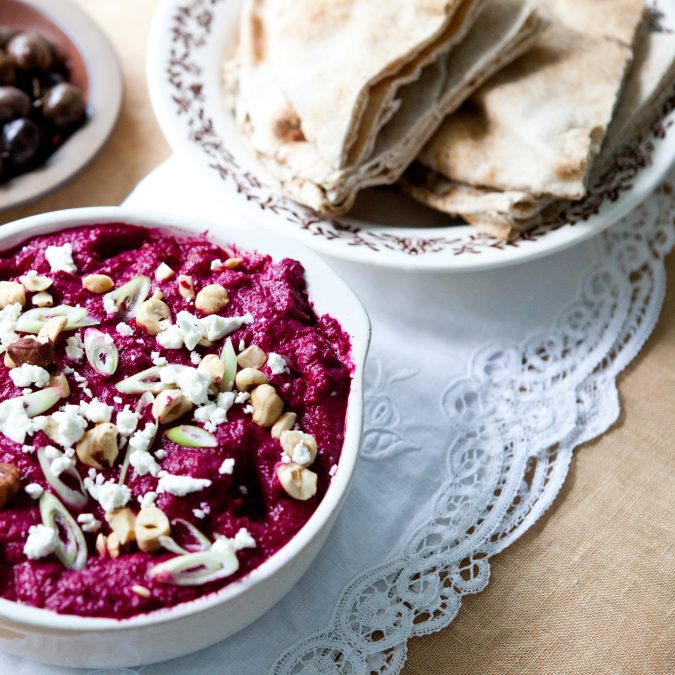 Za'atar-Spiced Beet Dip with Goat Cheese and Hazelnuts