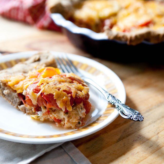 Whole Grain Tomato Cheddar Pie