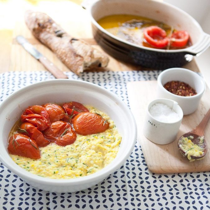 Fresh Corn Grits with Oil-Poached Tomatoes
