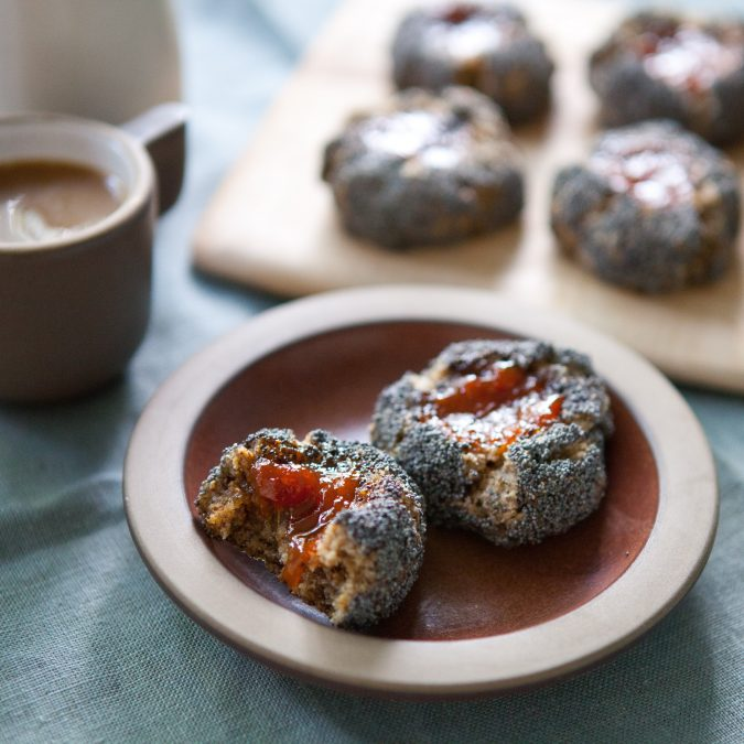 Buckwheat Poppy Thumbprint Cookies