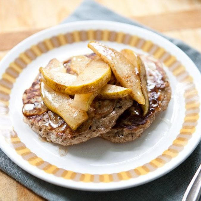 Whole Grain Pancakes with Cinnamony Pears