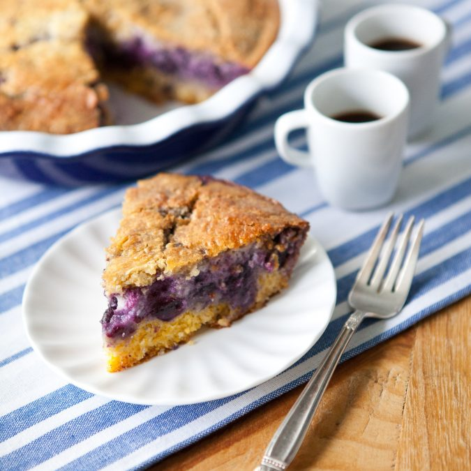 Blueberry Cornmeal Custard