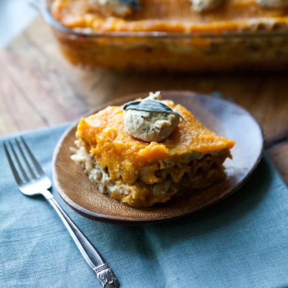 Butternut Squash Lasagna with Sage Tofu Ricotta | www.asweetspoonful.com