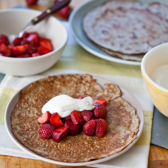Yogurt Crepes with Strawberries and Yogurt Whipped Cream