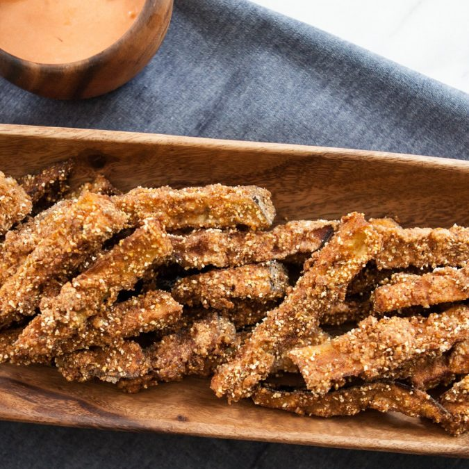 Polenta-Crusted Eggplant Fries with Harissa Aioli