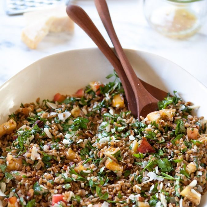 Farro Salad with Honeyed Apples, Parmesan and Herbs