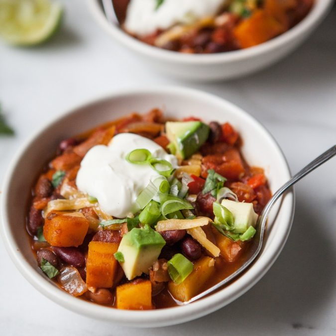 Smoky Butternut Squash and Three Bean Chili