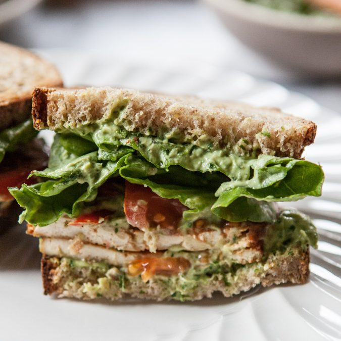Vegetarian BLT with Creamy Avocado Basil Spread